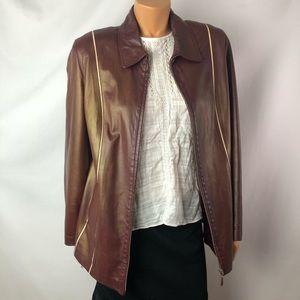 Vintage Echt Leder burgundy leather lamb Jacket XL